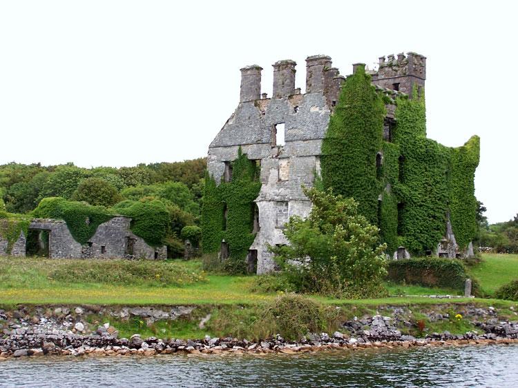 Menlo Castle on Lough Corrib, Galway