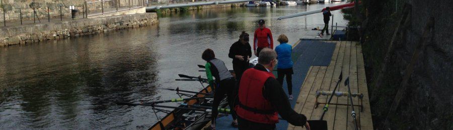 Launching boats at Tribesmen Rowing Club, Galway