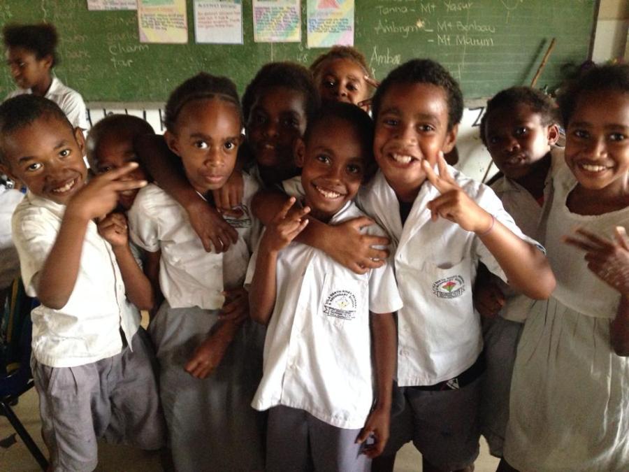 North Vila schoolchildren - future rowers?